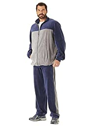 Kingsize Men\'s Big & Tall Colorblock Velour Jogset, Navy Big-3Xl