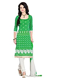 Anjali Presents Modish Green & White Coloured Embroidered Dress Material