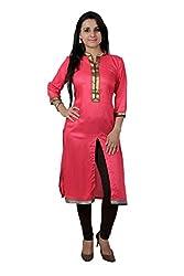 Kittus Fashion House Women's Poly Rayon Straight Kurti (Kskrt-1062A_Pink_Xx-Large)
