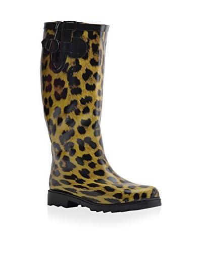 Henry Ferrera Women's Leopard Rain Boot  [Black]