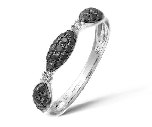 Naava - DR1105W BLK DIA-N, Anello in oro bianco con diamante, nero, 14