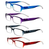 Eyeglasses, Reading Glasses, Set of 4, Neon Ombre for Men & Women - Designer Fashion Readers with Spring Hinged Temples, +1.50, By OptiPlix