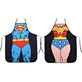 HH Building Superman + Wonder Woman Anime Cartoon Hero Character Series Modern Family 2pcs Apron Couple Kitchen Aprons