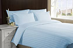 100% Egyptian Cotton Stripe Sky Blue king size 1 Peice Razai/ Duvet Cover By Hothaat