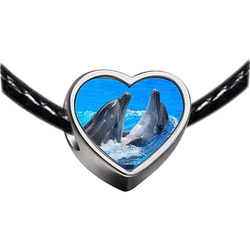 Chicforest Silver Plated Two Cute Playing Dolphin Photo Heart Charm Beads Fits Pandora Charm Bracelet