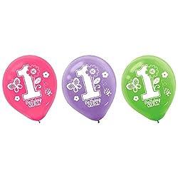 "Amscan Sweet Birthday Girl 1st Birthday Printed Latex Balloons, 12"", Pink/Purple/Green by Amscan"