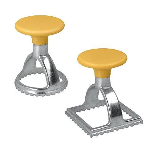 Metaltex 252326080 Ravioliausstecher rund mit quadratisch, 2er Set