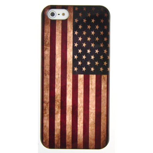 Primecases? Retro Vintage Flag Bumper Hard Case Cover for Apple iPhone 5S (Stars & Stripes)
