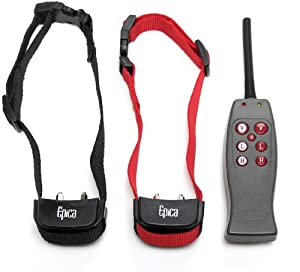 Epica Remote Dog Training Collar Shock and Vibration for 2 Dogs, Provides Safe but Annoying Static Stimulation- Ability to Shock or Vibrate Each Dog Separately