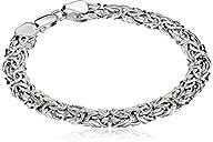 14k White Gold Byzantine Chain Bracel…