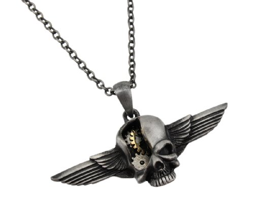 Steampunk Style Winged Skull Two Tone Pendant and Necklace