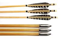 Buffalo Pheasant Turkey 5Inch Feather Silver Broadhead for Archery Wooden Arrows (12pcs)