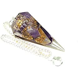 Orgone Amethyst Crystal Facet Pendulum Reiki Healing Energy