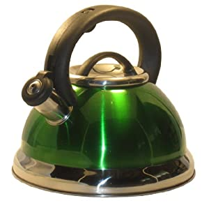 Alpine Green Finish Encapsulated Base 18 10 Stainless Steel Whistling Tea Kettle Pot by Alpine
