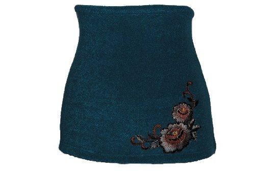 Nierenwärmer uni türkis blau turkis petrol Blume Blüte Applikation Bauchwärmer Fleece Frottee Nierengurt Leibwärmer Männer Frau Kinder Sport Baby Gr. Größe Gr. XXXL