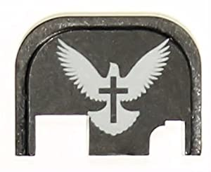 White Dove with Cross Rear Slide Cover Plate for Glock Pistols by Molon Labe LLC
