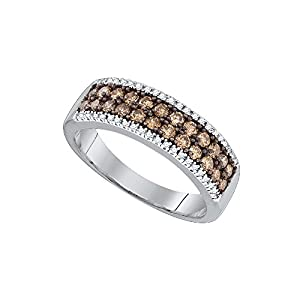 14kt White Gold Womens Round Cognac-Brown Colored Diamond 2-row Band Fashion Ring (.75 cttw.)