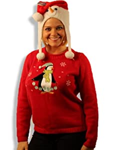 Chilly Penguin Holiday Sweater + Snowman Face Hat 2PC Set Womens S M L XL