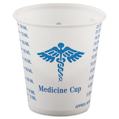 "SOLO Cup Company ""Paper Medical & Dental Graduated Cups, 3oz, White/Blue, 100/Bag, 50 Bags/Carton"" 50 packs of 100 cups each Unit of measure: CT, Manufacturer Part Number: SCC R3"