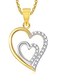Meenaz Gold Plated Heart Pendant With Chain For Girls And Women PS387