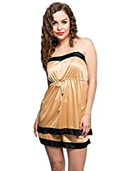 Clovia Women's Cami And Shorts Set (NS0316P24_Nude_Large)
