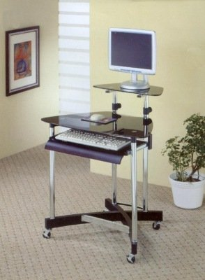 Buy Low Price Comfortable Chrome And Black Glass Top Computer Desk (B0017DO5RS)