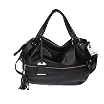 Hot Sale Fineplus Women's Tassel Zipper Shoulder Strap Handbag Black