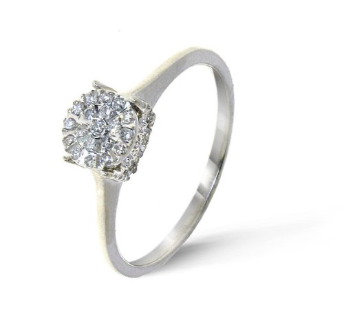 Attractive 9 ct White Gold Ladies Cluster Diamond Ring Brilliant Cut 0.15 Carat I-I1 Size K