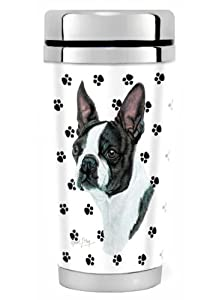 """Black Boston Terrier Dog ""-16oz Travel Mug Stainless Steel from Airstrike"