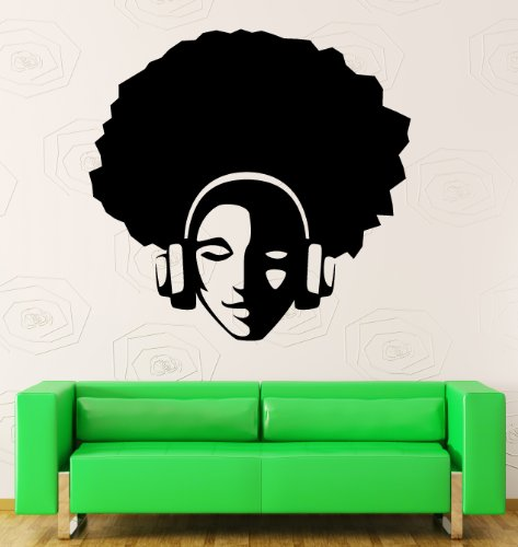 Wall Stickers Vinyl Decal Hippie With Afro In Headphones Music Decor (Z1153I) front-14020