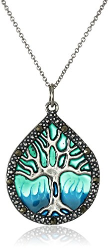 """Sterling Silver, Marcasite, and Blue Epoxy Tree of Life Pendant Necklace, 18"""""""