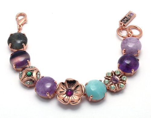Enticing 24K Rose Gold Plated Bracelet from 'Spring Vibration' Collection Created by Amaro Jewelry Studio Decorated with Flower Details, Rainbow Fluorite, Labradorite, Cape Amethyst -Lavender, Amethyst, Amazonite and Swarovski Crystals