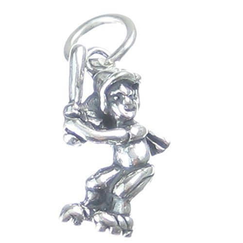 Baseball Batter 2d Ciondolo in argento Sterling 925x1Base Ball Pastelle Charms cf2945