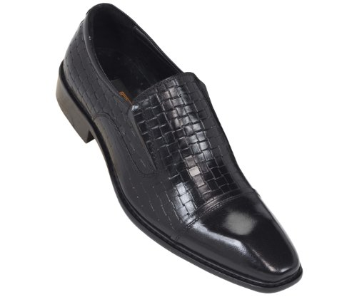 Steven Land Footwear Collection Mens Classic Genuine Woven Leather Slip On Loafer Shoe With Cap Toe In Black: Style Sl322 Black-000 12 D (M) Us
