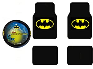 Batman Auto Accessories Interior Kit - Front & Rear Carpet Floor Mats, Steering Wheel Cover by yupbizauto
