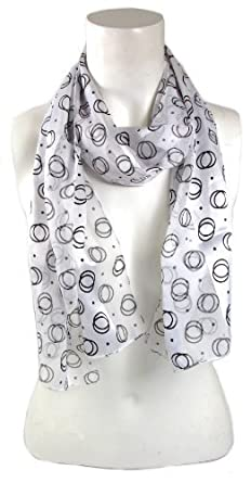 BB Accessories Silky Long Narrow White Scarf with Black Circle & Dot Print