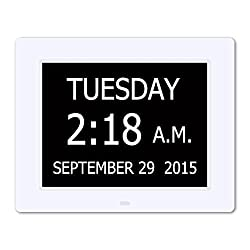 Hurrah Extra-Large Memory Loss Digital Calendar Day Clock with Non-Abbreviated Day (White)