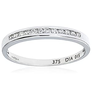 Ariel Eternity Ring, 9ct White Gold Diamond Ring, Channel Set, 0.15 Carat Diamond Weight Size: M