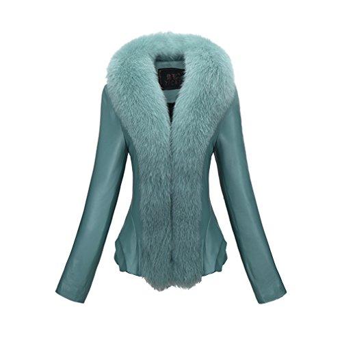 Fur Story FS161173 Donne Cappotto di Cuoio Reale Delle Pecore con Collo di Pelliccia Volpe e Abbottonatura Verde 44