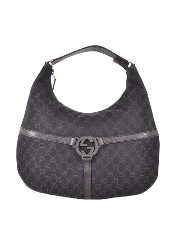 Gucci Brown Denim Canvas Interlocking GG Guccissima Hobo Bag
