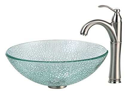 Kraus C-GV-500-12mm-1005SN Broken Glass Vessel Sink and Riviera Faucet Satin Nickel