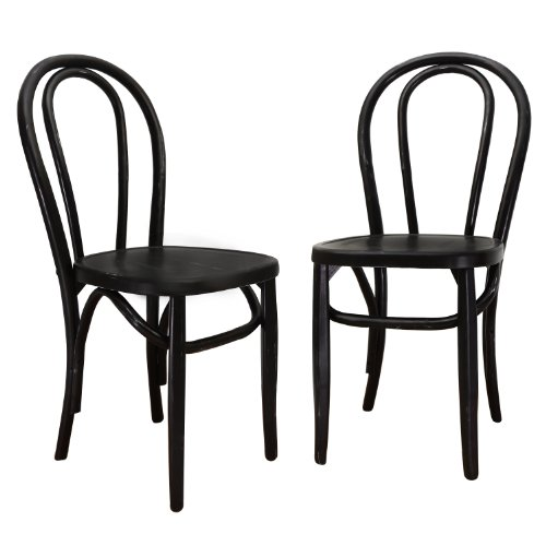 Joveco Vintage Style Solid Wood Dining Chair - Set of 2 (Black)