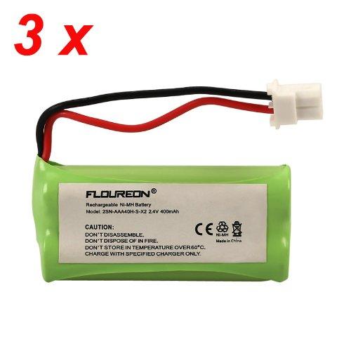 Floureon 3 Packs 2.4V 400Mah Rechargeable Cordless Phone Telephone Batteries For Vtech Cs6319, Cs6319-2, Cs63192, Cs6319-3, Cs63193, Cs6319-5, Cs63195, Cs6328, Cs6329, Cs6329-2, Cs63292, Cs6329-3, Cs63293, Cs6329-4, Cs63294