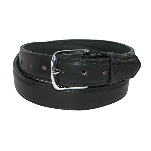 Boston Leather Mens Big & Tall Bison Leather 1.25 Inch Dress Belt, 58, Black