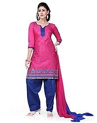 Saree Swarg Pink and Blue Dress Material