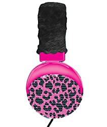 SWAGG SWHP-FB-PKLEO Full Bling Leopard Headphones with Mic
