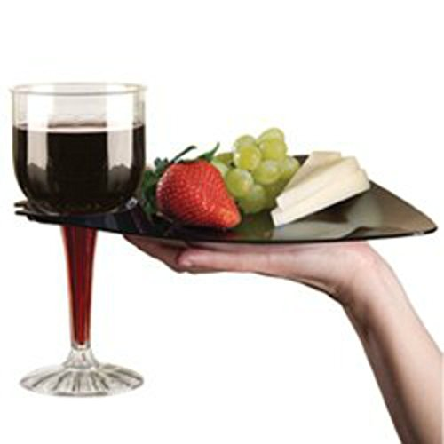 Black Cocktail Buffet Plates with Beverage Holder 10 Pack Party Plates with Wine Stem Holder (Appetizer Plates With Wine Holder compare prices)