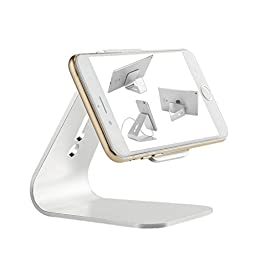 InzhiRui Micro-suction Mobile Phone Desktop Stand Mount Holder Stander Cradle Compatible With All iPhone (iPhone 5 5S 6 6S Plus) and Samsung Galaxy Tab S5 S6 Edge Note 2/3/4(Silver)