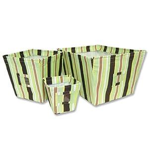Giggles Stripe: 3-Pc Fabric Covered Storage Bin Set. #101561, #101562, #101563 - Large, Medium & Small Sizes.