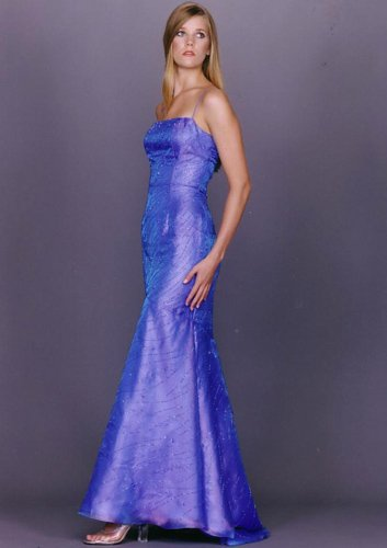 Womens Long Evening Dress. Strapless Prom Dress. Beaded Dress by Sean Collection (177) M, Blue